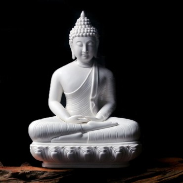 Thai South-East Asia Buddha Status with Lotus Seat White Porcelain Ceramics Handicraft Ornament