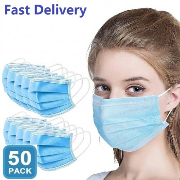 50 Pieces of Professional Mouth Mask 3 Layers Disposable Anti-Dust Anti-Fog Fast Delivery