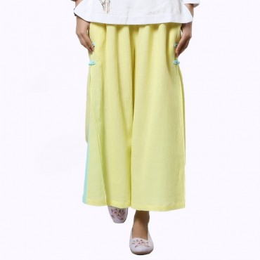 Women Casual Ramie Cotton Retro Tang Style Pants for Zen Meditation Yoga
