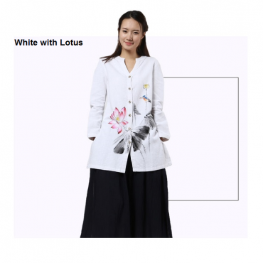 Women Casual Ramie Cotton Tops Clothing for Zen Meditation  with Long Sleeve