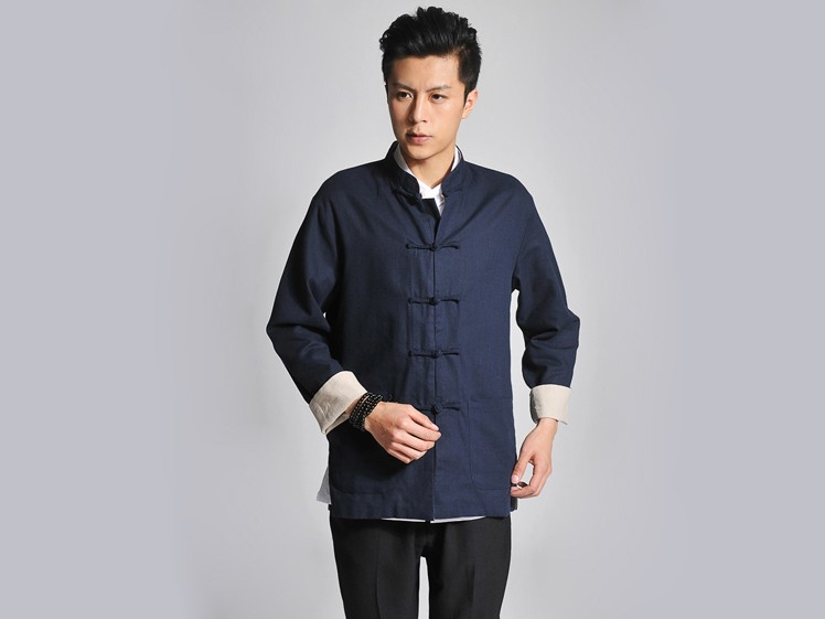 Traditional Vintage Kung Fu Clothing Reversible Cream-Colored And Blue Coat