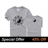 Kung Fu Tai Chi T-shirt Eight Trigrams Grey