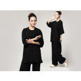 Tai Chi Clothing Pure Cotton Half-sleeve for women Black