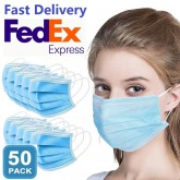 50 Pieces of Professional Surgical Mouth Mask 3 Layers Disposable Anti-Dust Anti-Fog Fast Delivery