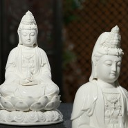 guanyin statue; buddha statue; handicraft; handmade ornament; 12 inch Glossy White Ceramics Guanyin Buddha Statue Handicraft Ornament (Sitting on the Lotus Seat)