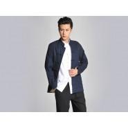 Kung Fu Clothing, Kung Fu Uniform, Kung Fu Clothing Man, Kung Fu Uniform Man, Reversible Blue And Cream-Colored Coat