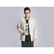 Kung Fu Clothing, Kung Fu Uniform, Kung Fu Clothing Man, Kung Fu Uniform Man, Reversible Blue And Cream-Colored Coat