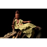 Modern Chinese Style; Chinese Style Ornament; Chinese Style Handicraft; Porcelain Ornament; Chinese Porcelain Ceramics Ornament; Modern Chinese Style Porcelain Ceramics Guanyin Ornament Handicraft (yellow)