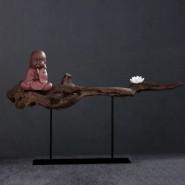 Buddha Ornament; Zen Ornament; Zen Handicraft; Buddha Handicraft Decoration; Zen Buddha Ornament Handicraft Decoration; Chinese Zen Buddha Ornament Handicraft; Modern Chinese Style Original Zen Buddha Ornament Handicraft Decoration (with white lotus)