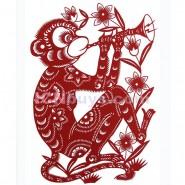 Chinese Paper Cutting, Decorative Paper-cut Frame, Paper Cutting Chinese Zodiac Monkey Clever
