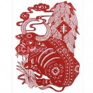 Chinese Paper Cutting, Decorative Paper-cut Frame, Paper Cutting Chinese Zodiac Ox Patient