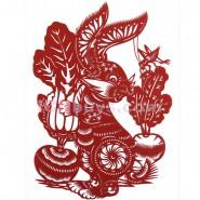 Chinese Paper Cutting, Decorative Paper-cut Frame, Paper Cutting Chinese Zodiac Rabbit Articulate