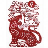 Chinese Paper Cutting, Decorative Paper-cut Frame, Paper Cutting Chinese Zodiac Tiger Sensitive