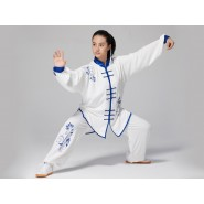 Professional Tai Chi Clothing Uniform Chinese Blue and White Porcelain Patterns Blue Flowers