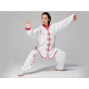 Professional Tai Chi Clothing Uniform Chinese Blue and White Porcelain Patterns Red Flowers