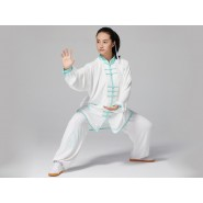 Professional Tai Chi Clothing Uniform Green Bamboo Leaves Patterns