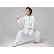 Professional Tai Chi Clothing Uniform Green Bamboo Leaves Patterns