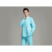 Professional Tai Chi Cloting Uniform Pure Cotton Thicken for Winter Blue