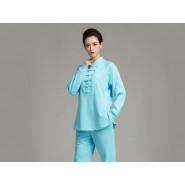 Professional Tai Chi Cloting Uniform Pure Cotton Thicken for Winter Blue