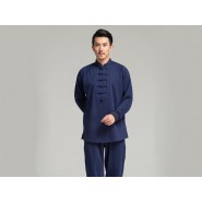 Professional Tai Chi Cloting Uniform Pure Cotton Thicken for Winter Dark Blue