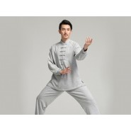 Professional Tai Chi Cloting Uniform Pure Cotton Thicken for Winter Grey