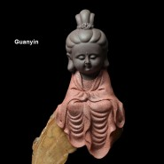 Buddha Figurine; Buddha Ornament; Buddha Porcelain Handicraft; Buddha Figurine Handmade; Q-Version Guanyin Ksitigarbha Buddha Original Porcelain Ornament Handicraft with semicircle base