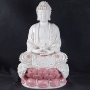 Buddha Status; Handicraft Ornament; Buddha Ceramics Handicraft; Sakyamuni Buddha Status with Lotus Seat Chinaware Ceramics Handicraft Ornament (sitting position)