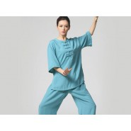 Tai Chi Clothing, Half-sleeve Tai Chi Clothing, Blue Tai Chi Clothing, Tai Chi Clothing for Woman, Tai Chi Uniform, Chinese Tai Chi Clothing, Chinese Tai Chi Uniform, Tai Chi Casual Clothing
