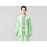 Tai Chi Clothing women long-sleeved Green Uniforms