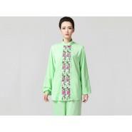 Tai Chi Clothing women long-sleeved Green Uniforms