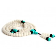 Traditional Tibet Buddhist Prayer Wrap Bracelet Necklace 108 White Jade Bodhi With Turquoise Mala, Buddhist Prayer beads, Buddhist Prayer bracelet, Buddhist Prayer necklace, Buddhist Mala