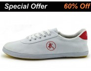 Double Star Canvas Tai Chi Shoes White