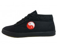 Double Star Canvas Tai Chi Shoes High Top Black Tai Chi Pattern