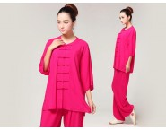 Tai Chi Clothing Pure Cotton Half-sleeve for Women Rosy
