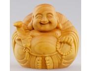 Wood Carving Chinese Maitreya Buddha Ornament Handicraft