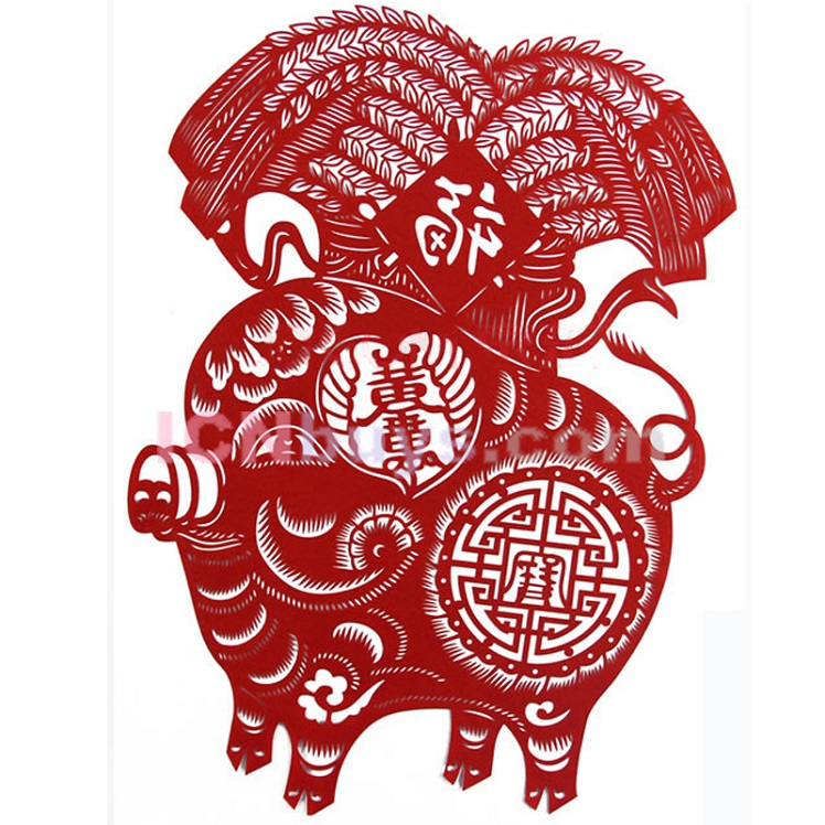 Paper Cutting Chinese Zodiac Pig chivalrous