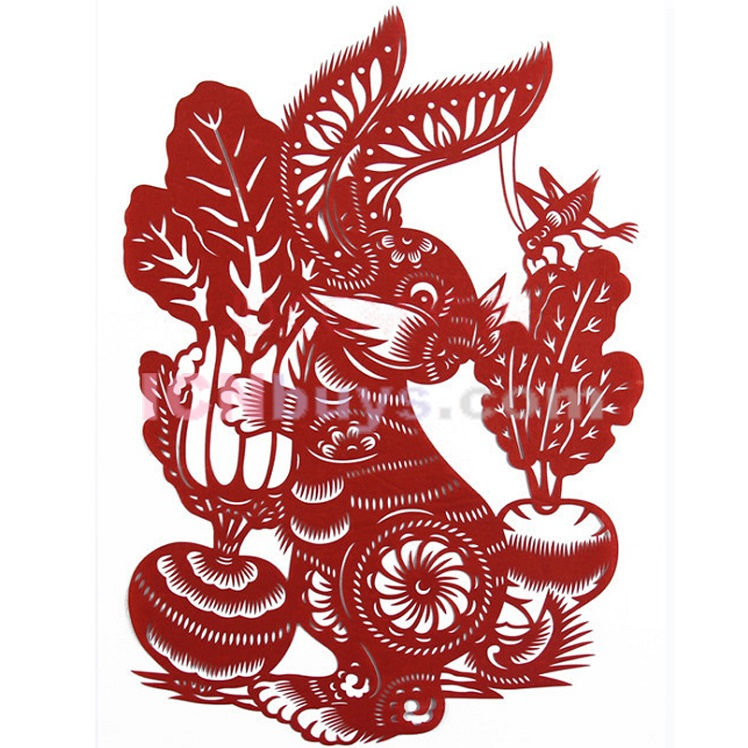 Paper Cutting Chinese Zodiac Rabbit articulate