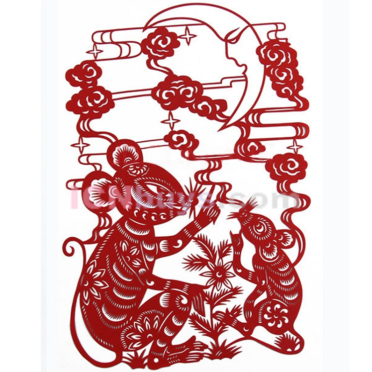 Paper Cutting Chinese Zodiac Rat charm