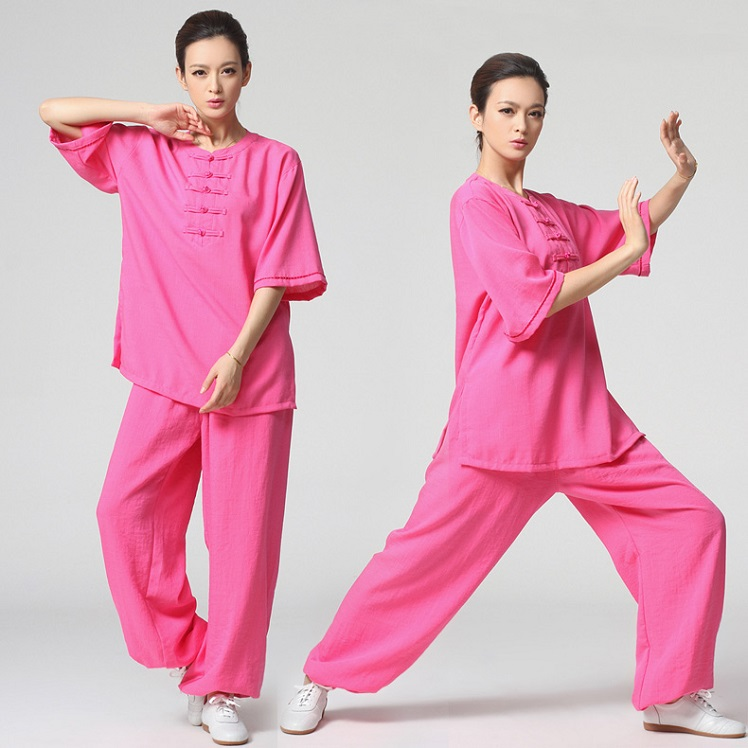 Tai Chi Clothing Half-sleeve Casual Style Rosy