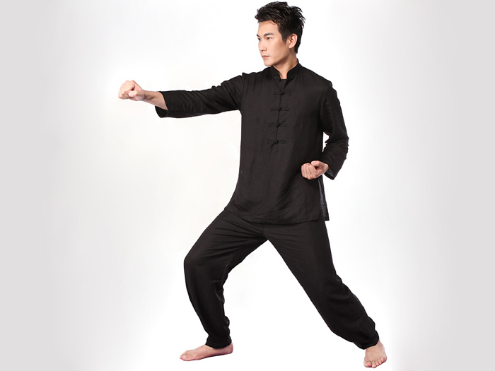 Tai Chi Clothing Set Casual Style Black Detail image