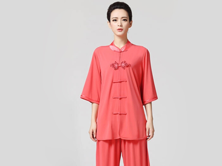 Tai Chi Clothing Half-sleeve Casual Style Watermelon Red