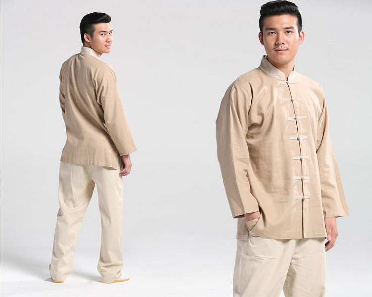 Tai Chi Clothing Flax Light Coffe Jinwu Detail image